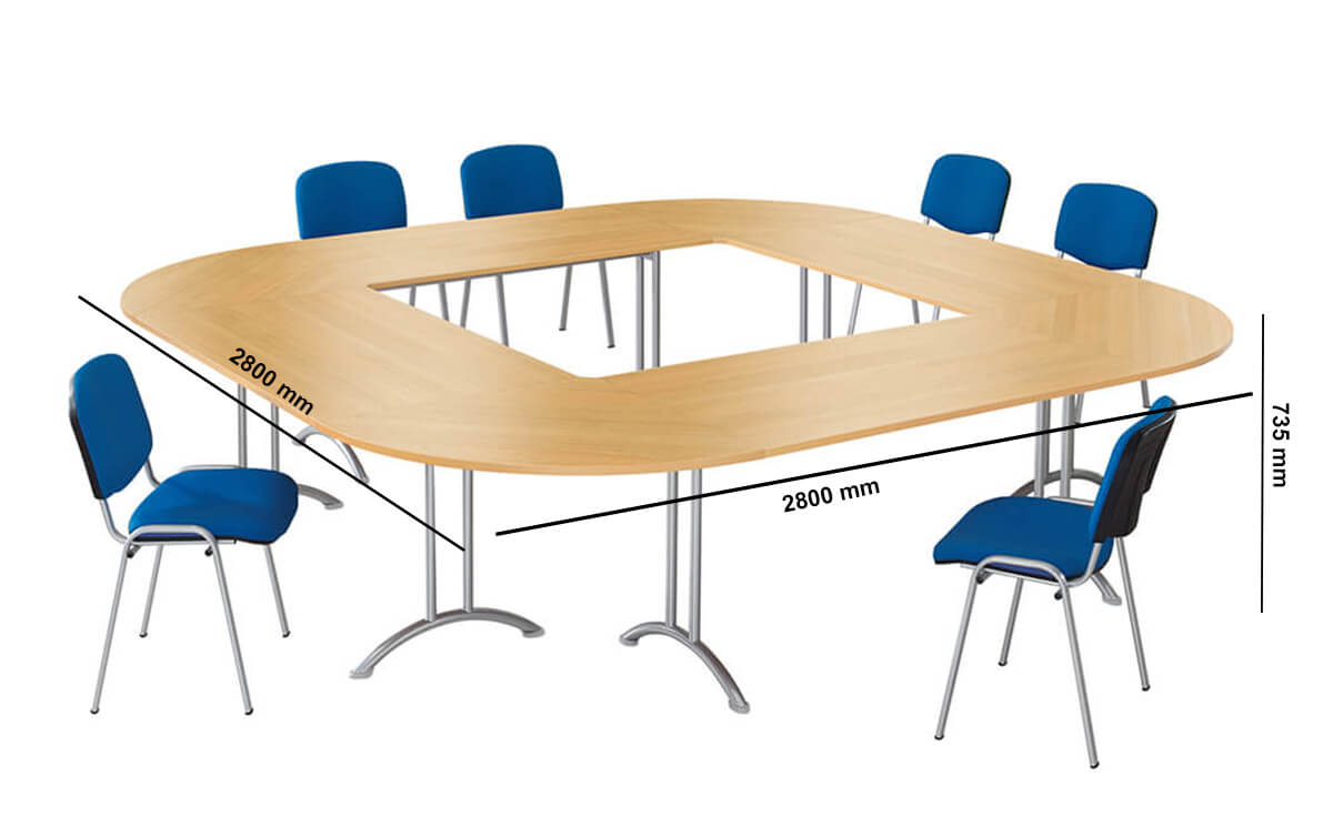 Open Sided Rectangular Meeting Table Dimension Image