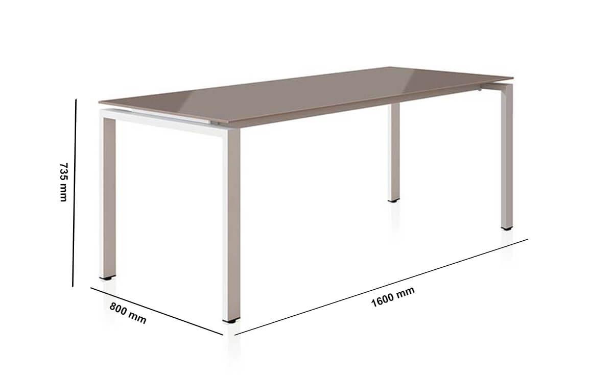 Rio Executive Desk With Glass Top Dimension Image