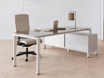 Rio Executive Desk With Glass Top With Credenza