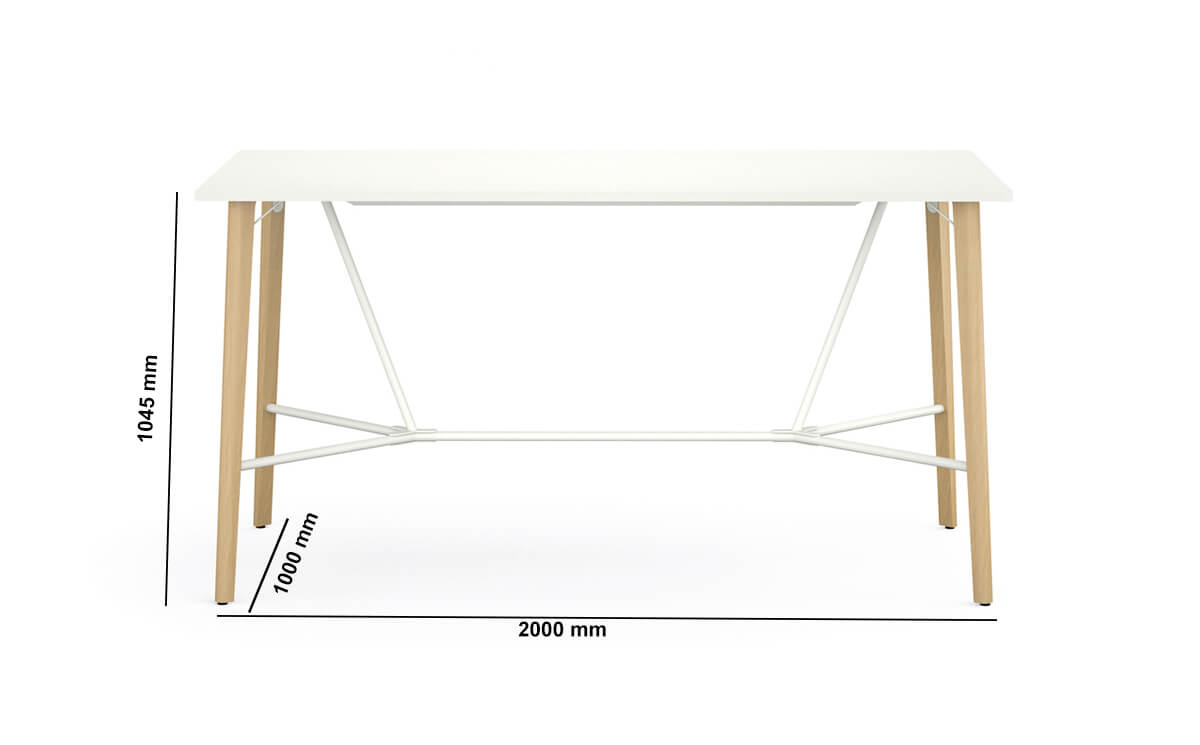 Robin Meeting Table With Footrest Dimension Image