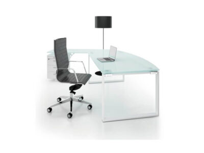 Bonnie 1 Glass Top Ring Leg Executive Desk With Rounded Front