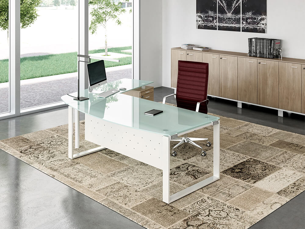 Bonnie 1 Glass Top Ring Leg Executive Desk With Rounded Front Main Image