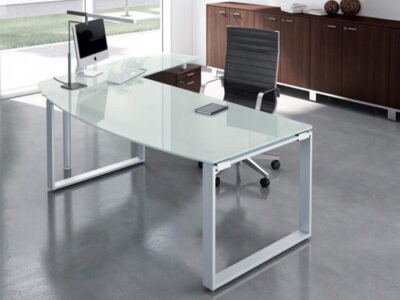 Bonnie 1 Glass Top Ring Leg Executive Desk With Rounded Front2
