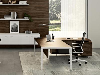 Buono 1 Sleek Executive Desk In Wood Venee1r