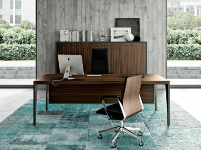 Buono 1 Sleek Executive Desk In Wood Veneer2