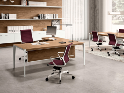 Buono 1 Sleek Executive Desk In Wood Veneer4