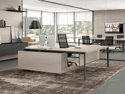 Buono 1 Sleek Executive Desk In Wood Veneer6