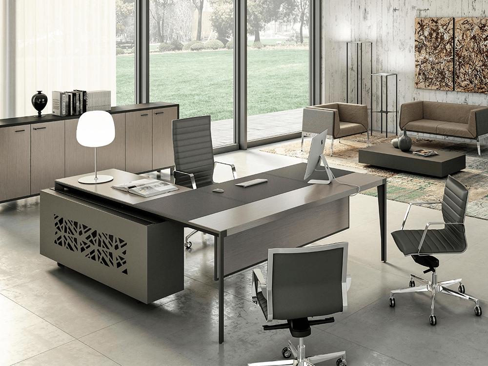 Buono 2 Sleek Executive Desk In Wood Veneer With Leather Inlay