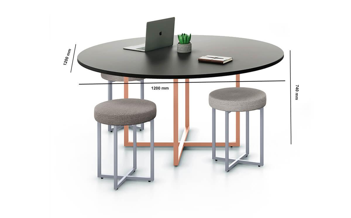 Carys Circular Meeting Desk Dimension Image