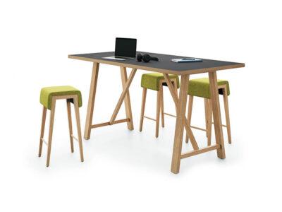 Croyd Rectengular Meeting Table With Wooden Leg 2