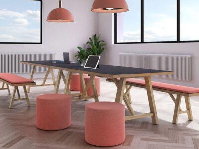 Croyd Rectengular Meeting Table With Wooden Leg Main Image