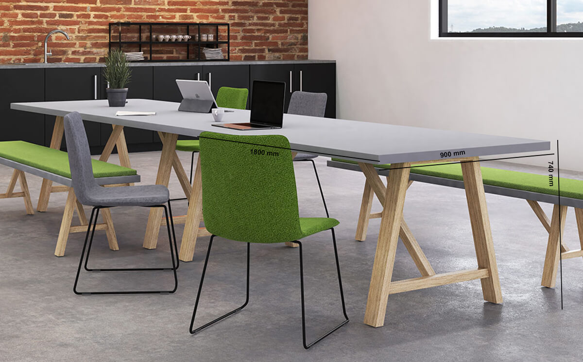 Croyd Rectengular Meeting Table With Wooden Leg Dimension Image