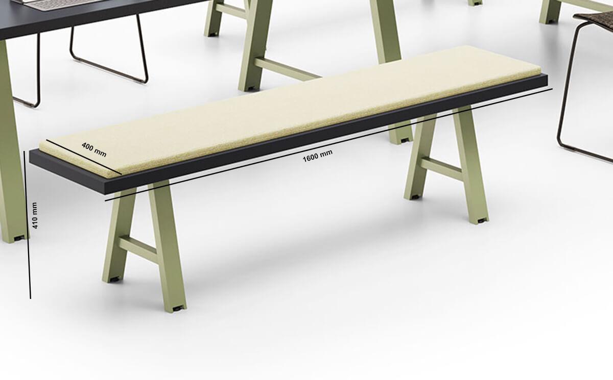 Croyed Steel Leg Bench Dimension Image