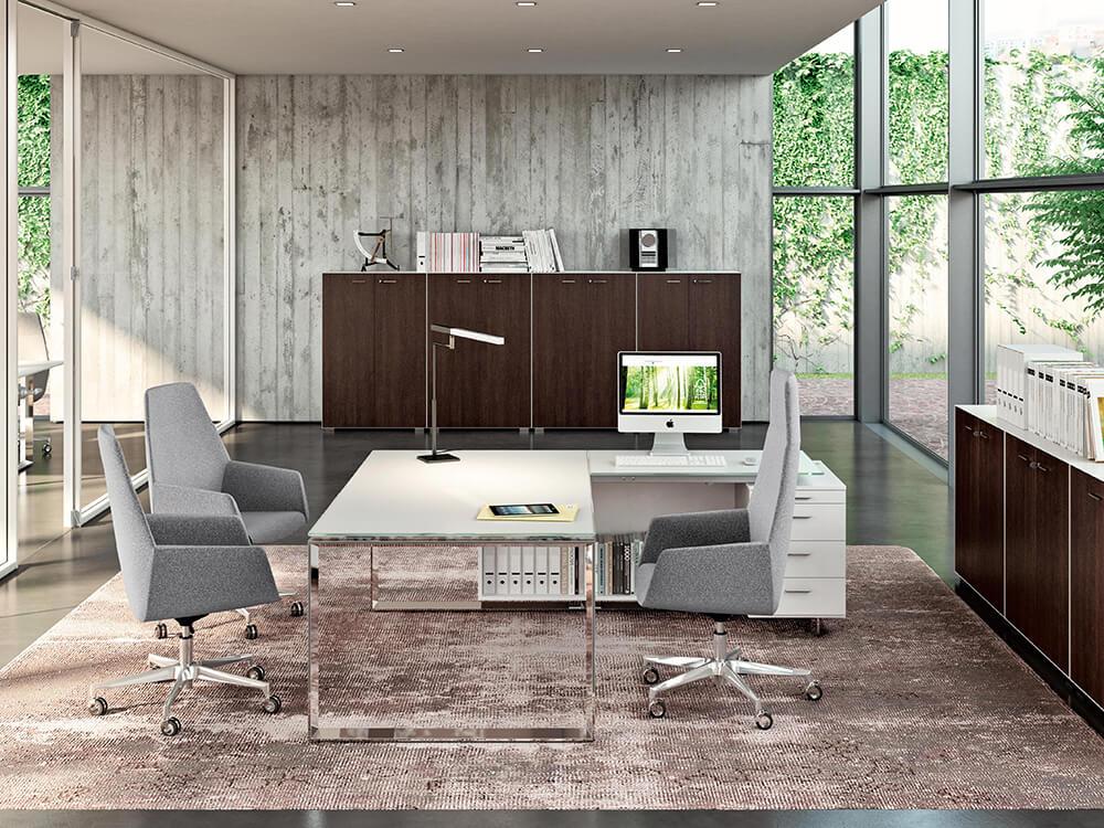 Enrique 3 Glass Top Ring Leg Executive Desk
