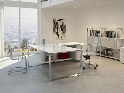 Enrique 3 Glass Top Ring Leg Executive Desk1