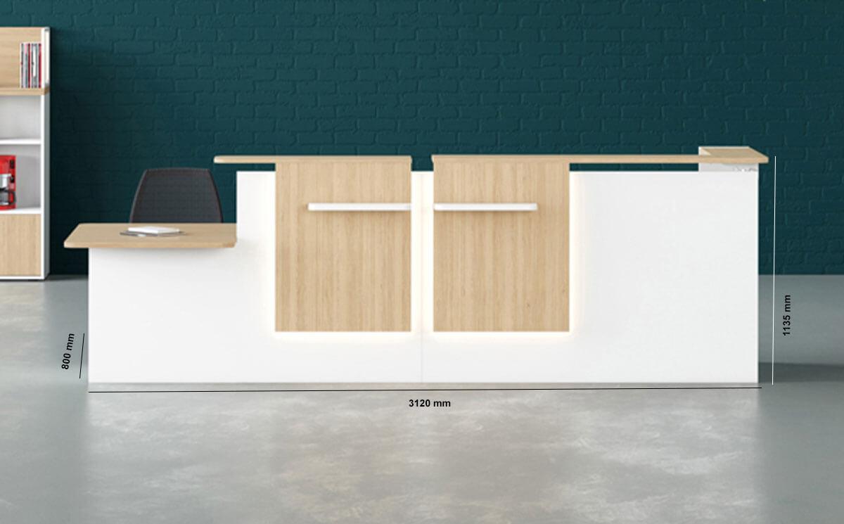 Greta Corner Reception Desk With Dda Approved Wheelchair Access Unit Dimension Image