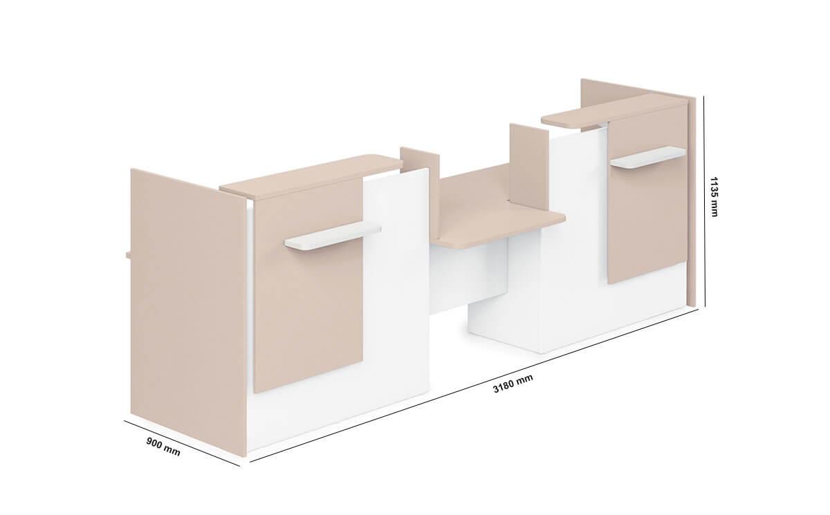 Greta Reception Desk With Center Dda Approved Wheelchair Access Unit Dimension Image