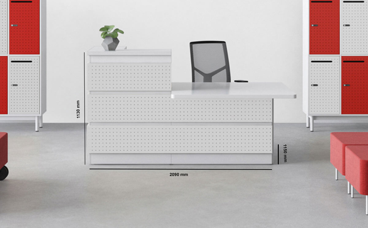 Guest Closed Sides Reception Desk With Dda Approved Wheelchair Access Unit Dimension Image