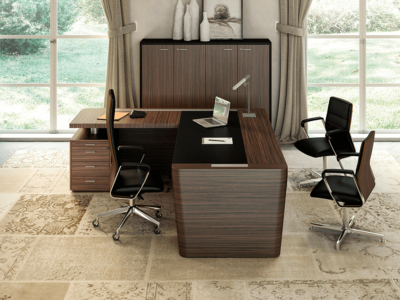 Henry 2 Wood Veneer Luxurious Executive Desk With Leather Inlay Main