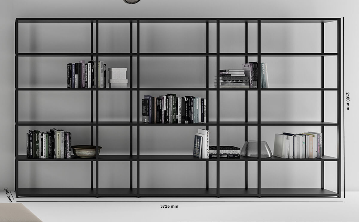 Hype High Aluminium Frame Bookcases With Laquared Shelves Dimension Image