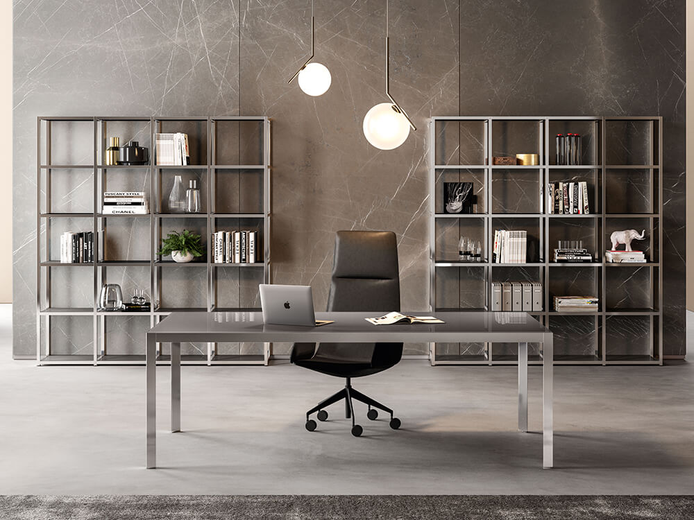 Hype Lacquered Glass Top Executive Desk Main Image