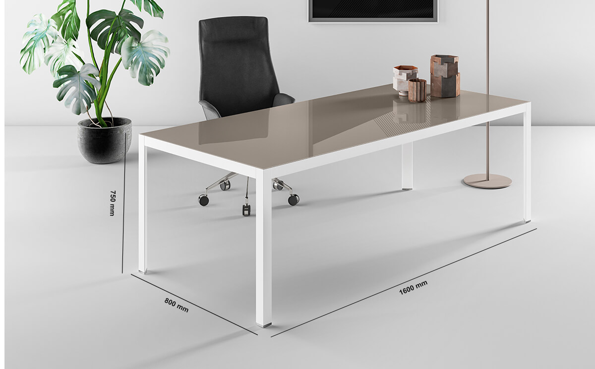 Hype Lacquered Glass Top Executive Desk Dimension Image