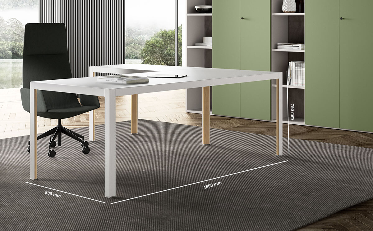 Hype Lacquered Top Executive Desk Dimension Image