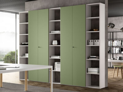 Hype Laquared Bookcases With Centeral Double Doors 1