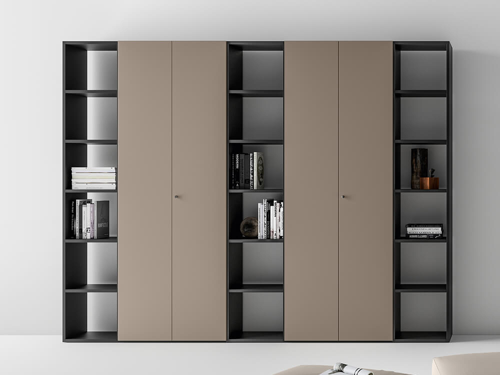 Hype Laquared Bookcases With Centeral Double Doors Main Image