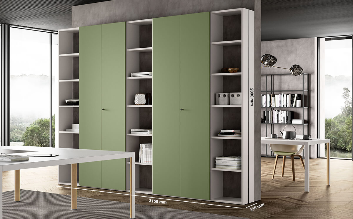Hype Laquared Bookcases With Centeral Double Doors Dimension Image