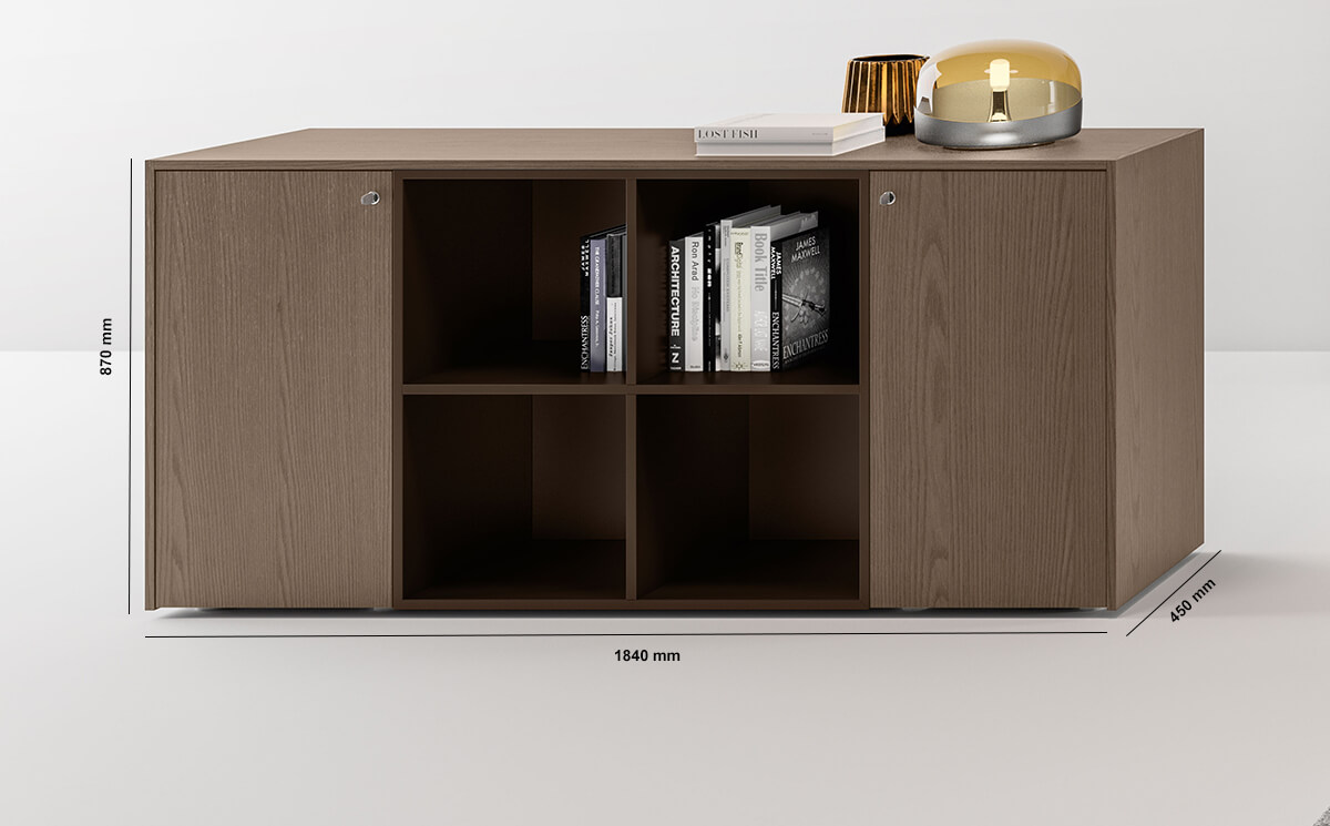 Hype Medium Level Wall Unit With Side Doors And Centeral 4 Open Element Dimension Image