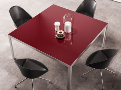Hype Meeting Table With Lacquered Glass Top 1