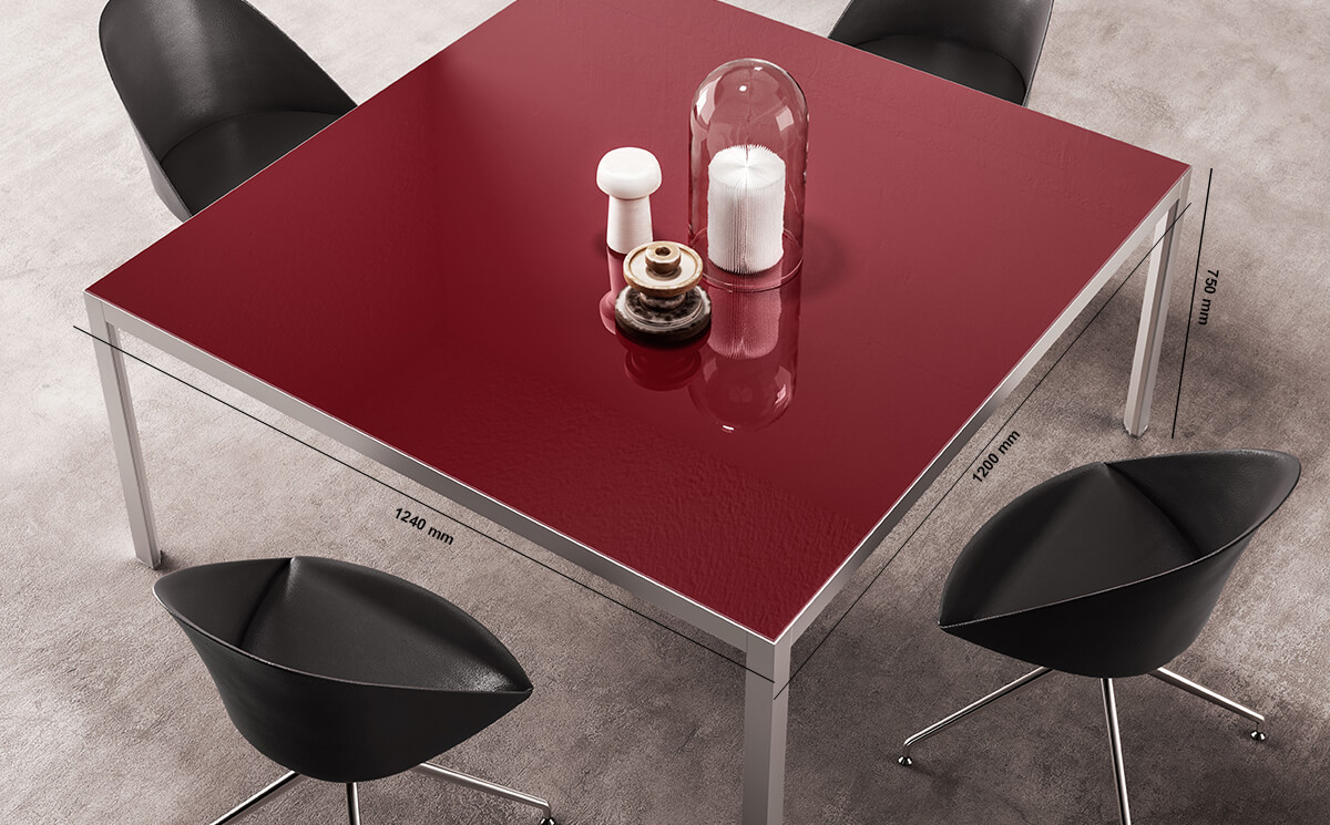 Hype Meeting Table With Lacquered Glass Top Dimension Image