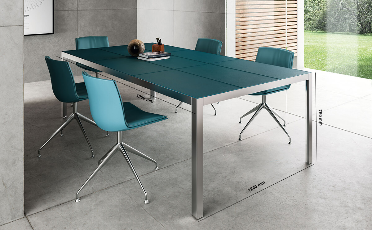 Hype Meeting Table With Leather Top Dimension Image