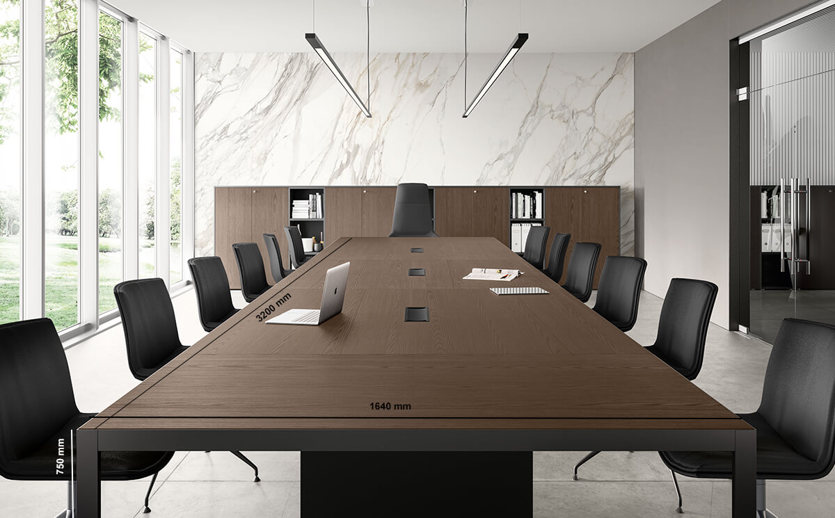 Hype Meeting Table With Wood Venee Top Dimension Image
