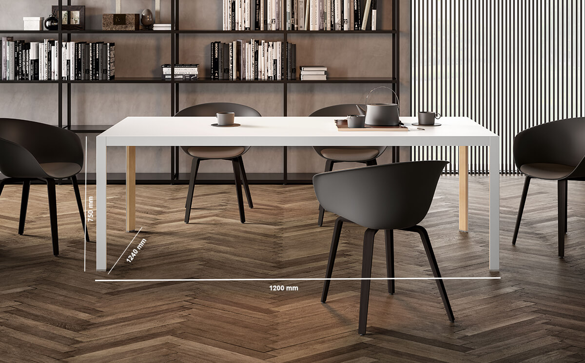 Hype Mettig Tabel With Wood Top Dimenaion Image