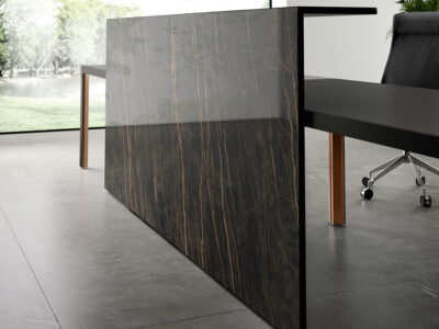 Hype Reception Desk With Front Overhang Panel 1