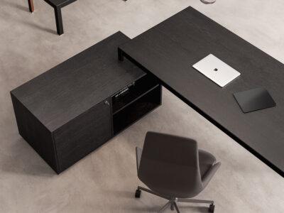 Hype Wood Veneer Top Executive Desk With Credenza