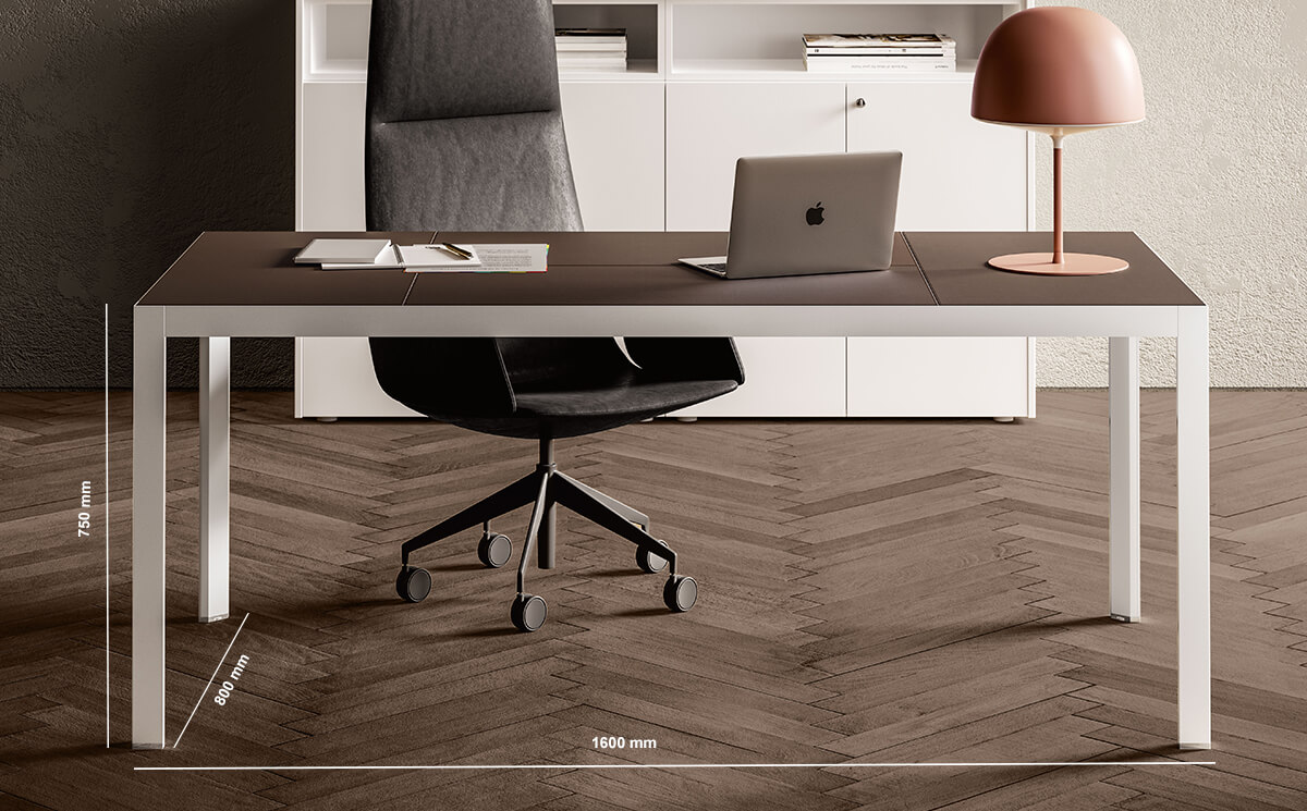 Hype Leather Top Executive Desk Dimension Image