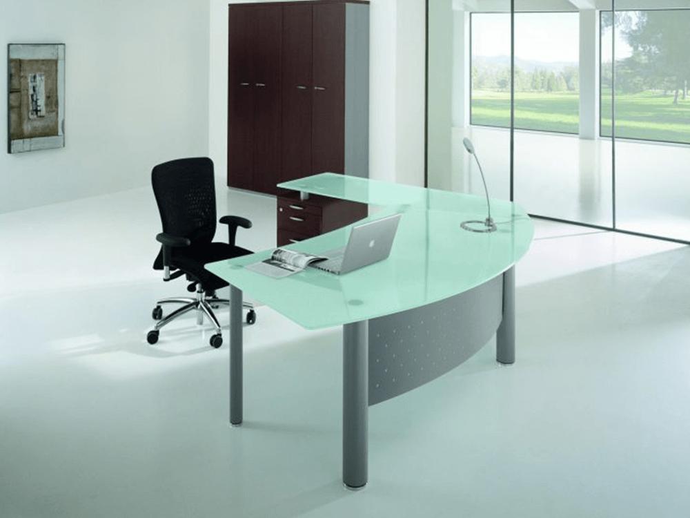 Jenny 2 Glass Top Radial Corner Desk Main