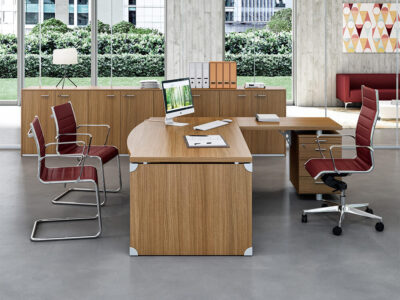 Linda 2 Wood Finish Front Rounded Executive Desk With Extension