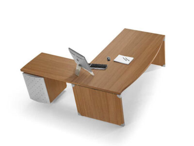 Linda 2 Wood Finish Front Rounded Executive Desk With Extension1