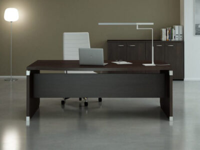 Linda 2 Wood Finish Front Rounded Executive Desk With Extension3