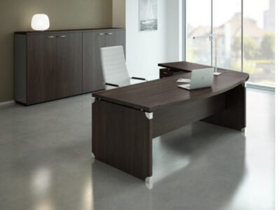 Linda 2 Wood Finish Front Rounded Executive Desk With Extension5