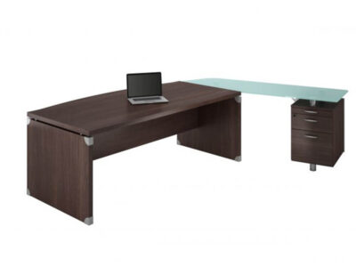 Linda 2 Wood Finish Front Rounded Executive Desk With Extension6