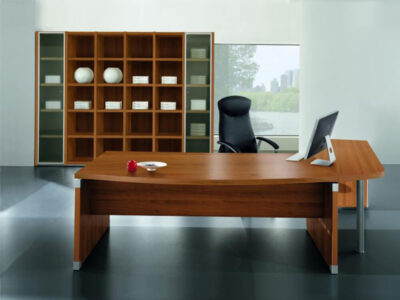 Linda 2 Wood Finish Front Rounded Executive Desk With Extension7
