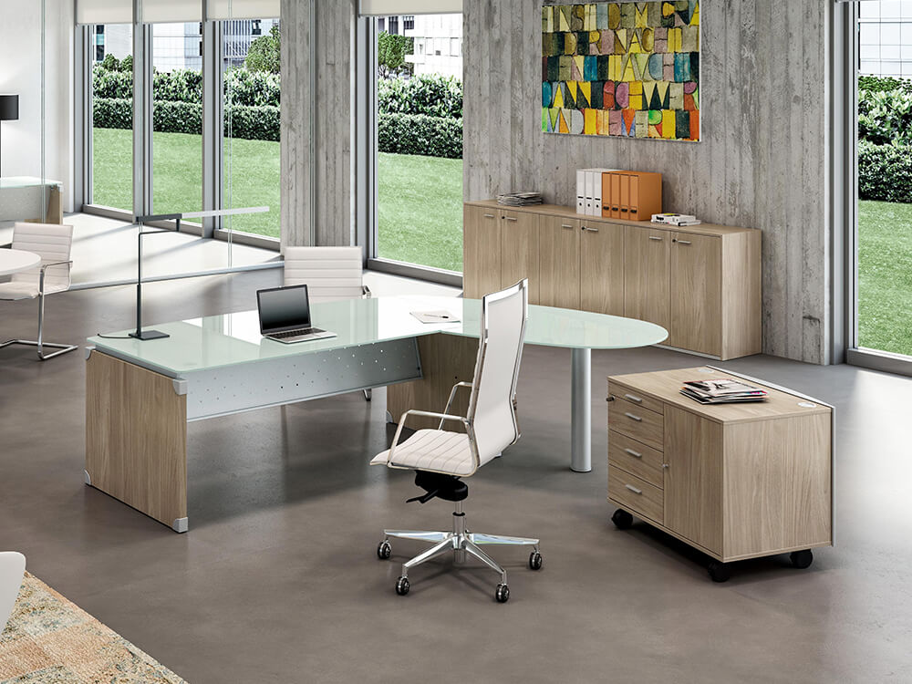 Linda L Shaped Glass Top Executive Desk With Return
