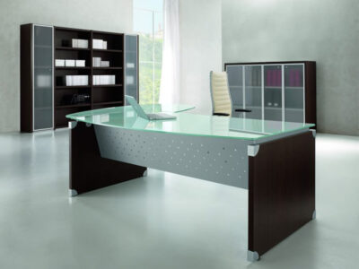 Linda L Shaped Glass Top Executive Desk With Return1