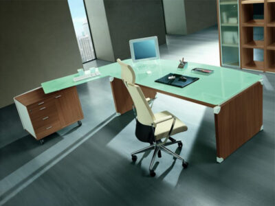 Linda L Shaped Glass Top Executive Desk With Return2