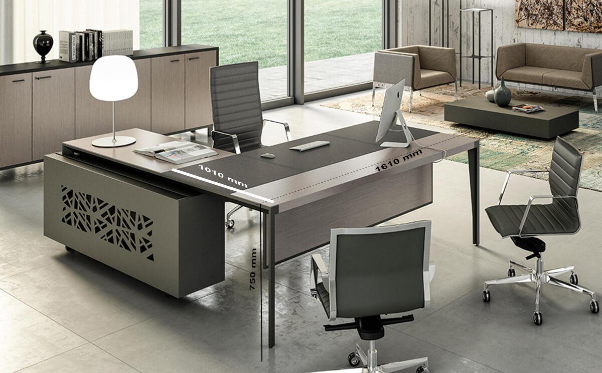 Size Buono 2 Sleek Executive Desk In Wood Veneer With Leather Inlay